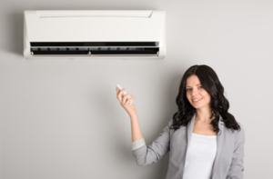 homeowner with ductless split system